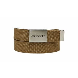 Carhartt WIP Clip Belt Chrome - Leather Brown světlehnědé I019176_8Y_00